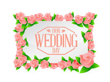 our wedding day pink flowers board illustration Stock Photo