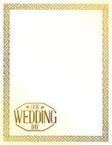 our wedding day stamp golden border Royalty Free Stock Images
