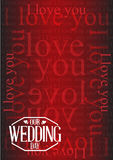 Our wedding day stamp I love you background Royalty Free Stock Photos