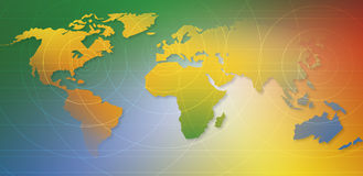 Our World. World map with colors, and circular and straight lines stock illustration