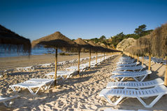 Oura Beach Parasols Royalty Free Stock Images