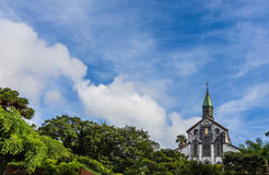 Oura Catholic Church  and blue sky in Nagasaki, Japan Royalty Free Stock Photography