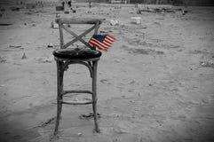Ouragan des Etats-Unis de drapeau de débris d'île de lapin de New York arénacé Photographie stock