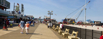 Ouragan Sandy Recovery dans des tailles de bord de la mer, New Jersey images stock