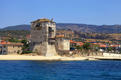 Ouranopoli塔,近希腊从霍莉山Athos 免版税库存图片
