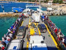 09.20.2018 - Ouranopolis / Greece: Pilgrimage of believers by ferry to Mount Athos. Beautiful sunny, clear day royalty free stock photography