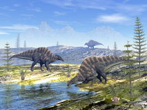 Ouranosaurus dinosaurs - 3D render Stock Images