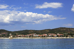 Ouranoupoli on coast of Athos in Greece. Royalty Free Stock Photography