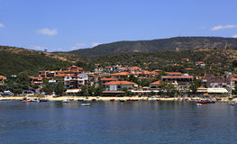 Ouranoupoli on coast of Athos in Greece. Royalty Free Stock Image