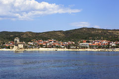 Ouranoupoli on coast of Athos in Greece. Stock Image