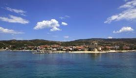 Ouranoupoli on coast of Athos in Greece Royalty Free Stock Photo