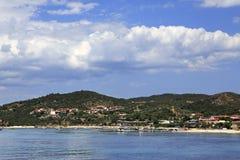 Ouranoupoli on coast of Athos in Greece Stock Photo