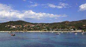Ouranoupoli on coast of Athos in Greece Stock Photos