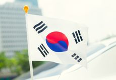 Close up ourdoors shot of South Korean flag on a flagpole royalty free stock photo
