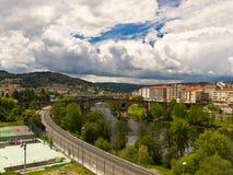 Ourense Roman bridge. Over Minho river Royalty Free Stock Image