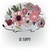 Ouriço bonito com flores Fotografia de Stock Royalty Free