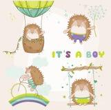 Ouriço do bebê ajustado - para cartões de chegada da festa do bebê ou do bebê ilustração do vetor
