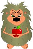 Ouriço engraçado que guarda uma maçã vermelha em suas mãos ilustração royalty free