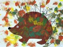 Ouriço pintado no fundo colorido imagem de stock