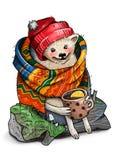 Ouriço vestido com a caneca no coto Foto de Stock Royalty Free
