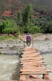 Ourika valley. A wooden bridge over the River Oued in Ourika valley between the mountains of Morocco royalty free stock images