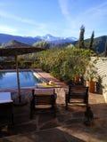 Ourika Valley, Morocco. Hotel pool,  view of Atlas mountains Stock Photos