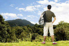 Ourist atop beautiful Mountain Stock Photo