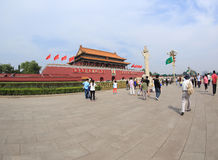 Ourists on Tiananmen square near Forbidden City Royalty Free Stock Images