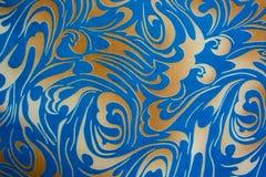 Ouro abstrato e textura sem emenda floral azul Imagens de Stock