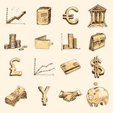 Ouro ajustado ícones do esboço da finança Imagens de Stock Royalty Free