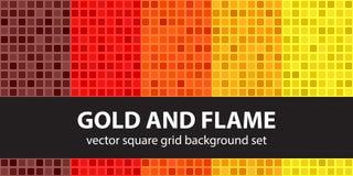 Ouro ajustado e chama do teste padrão quadrado Backgrou sem emenda da telha do vetor ilustração stock