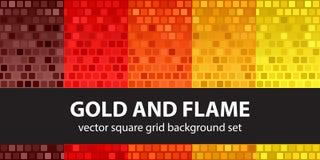 Ouro ajustado e chama do teste padrão quadrado Backgrou sem emenda da telha do vetor ilustração royalty free