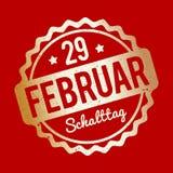 Ouro alemão de Schalttag 29 Februar Stempel em um fundo vermelho Ilustração Royalty Free