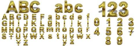 Ouro amarelo ou fontes douradas isoalted Imagem de Stock Royalty Free