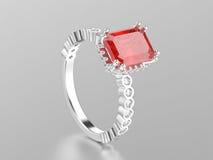 ouro branco da ilustração 3D ou anel decorativo do rubi da prata com r Imagem de Stock