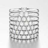 ouro branco da ilustração 3D ou wi decorativos de prata dos aneis de diamante Imagem de Stock