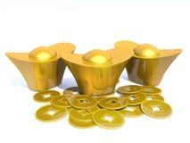 Ouro chinês 3D Imagens de Stock