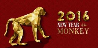 ouro chinês feliz do macaco do ano 2016 novo baixo poli