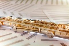Ouro cor-de-rosa dourado de Flute/14 K Fotografia de Stock