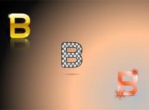 Ouro, cores preto e branco, alaranjadas com a letra B Imagens de Stock Royalty Free
