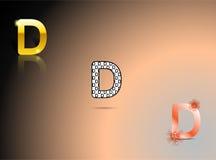 Ouro, cores preto e branco, alaranjadas com a letra D Imagens de Stock Royalty Free