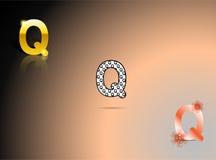 Ouro, cores preto e branco, alaranjadas com a letra Q Fotos de Stock
