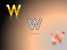 Ouro, cores preto e branco, alaranjadas com a letra W Foto de Stock