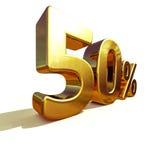 ouro 3d sinal de 50 por cento Imagens de Stock