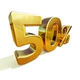 ouro 3d sinal de 50 por cento Fotos de Stock Royalty Free