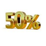 ouro 3d sinal de 50 por cento Foto de Stock Royalty Free