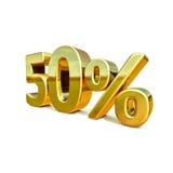 ouro 3d sinal de 50 por cento Fotografia de Stock Royalty Free