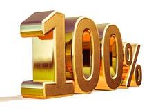ouro 3d sinal de um disconto de 100 cem por cento Imagens de Stock