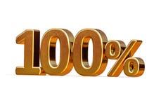 ouro 3d sinal de um disconto de 100 cem por cento Fotos de Stock Royalty Free