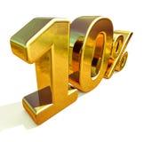 ouro 3d sinal de um disconto de 10 dez por cento Foto de Stock Royalty Free